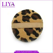 New leopard animal print round makeup powder puff with ribbon