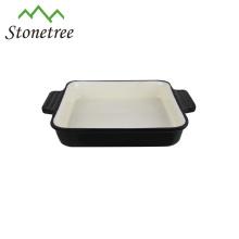 Prato barato por atacado do retângulo do ferro fundido da bandeja do cozimento do esmalte do Baguette