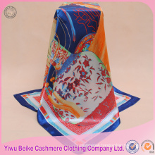High quality customized hand-rolled edges printed satin scarf