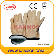 Yellow Cowhide Grain Leather Jersey Industrial Safety Warm Winter Work Gloves (12303)