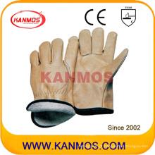Jaqueta de couro amarelada de couro de grão Industrial Safety Warm Winter Work Gloves (12303)