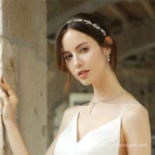 Handmade Designer Elastic Headband Wedding Bride For Women Girl Luxury Hair Accessories Leaf Rhinestone Hairband Feast Party