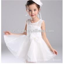 Последний элегантный вечеринку органза детская одежда Белый цветок девочки платья для свадьбы