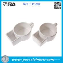 Taza de sopa de cerámica de China Dehua con el bolsillo