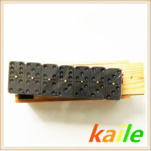 Double six black paint dark brown domino with wooden box