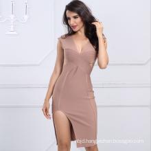 Ladies Party Dress Bodycon Dress Sleeveless Dress V Neck Dress