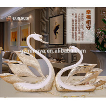 Decorative Elegant Swan Resin Arts Figurine for Home Decoration Polyresin Animal Figurine