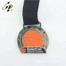 Atacado personalizado seu próprio logotipo antigo prata medalhas de prêmio de basquete de metal