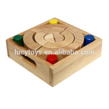 Colorful wooden geometric shape blocks set