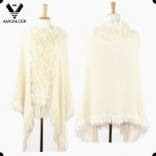 Fashion Acrylic Long Hair Knitted Lady Poncho