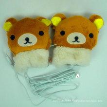 guantes de felpa de peluche calentados USB eléctrico de la felpa