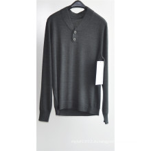 Мужчины V-образным вырезом чистого цвета вязать свитер свитер