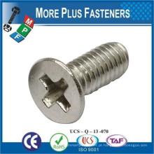 Fabricado em Taiwan ISO 7046 Philips Flat Countersunk Head Machine Screw Cinzento de aço carbono baixo em aço inoxidável