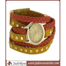 Reloj de marca de cuarzo de banda de cuero con brazalete para damas