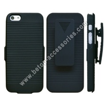 iPhone 5 Case Cover Slim Rubberize Protector Holster with Kickstand Black