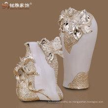 diseño popular conjunto de decoración de mesa de lujo de 2 flor de resina jarrón