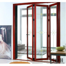 Porte pliante bi-aluminium en bois avec double vitrage