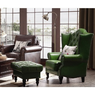 American Country Style Leisure Living Room and Bedroom Leather Sofa Chair