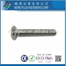 Fabricado em Taiwan, em aço inoxidável, M1-M6, Cabeça plana, cabeça chassada e parafusado