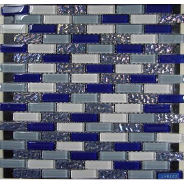 Mosaïque de verre Chip mode Rectangle bleu