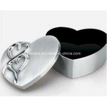 2016 em forma de coração caixa de jóias de prata