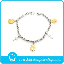 TKB-B0093 China Factory Direct wholesale religious jewelry two tone hand chain inspirational bracelets for women