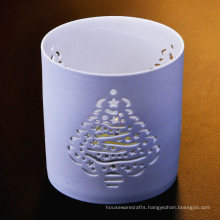 Hollow Tree Pattern Heat Resistant Ceramic Candle Holders for Christmas Decoration