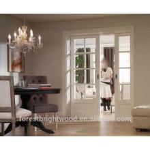 Branco pintado Recessed portas exteriores deslizante vidro Interior bolso duplo
