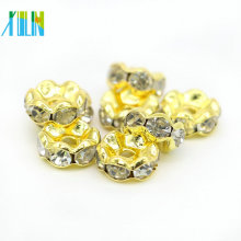 Wholesale DIY Plated Gold Wavy Side Metal Rondelle Beads Jewelry Making Crystal Clear Glass Spacer Beads IA0202