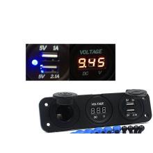 USB зарядное устройство автомобиля 12V прикуривателя вольтметр гнездо