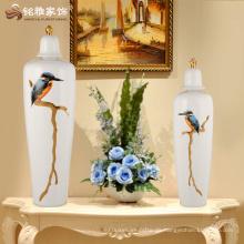 Modernes Vogelmuster keramische weiße Farbvase mit Abdeckung für Hauptdekoration
