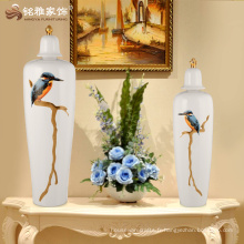 Vase moderne en céramique en céramique en forme d'oiseau avec couvercle pour décoration de maison