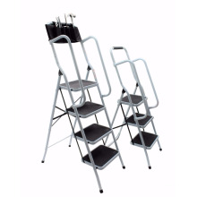 Foldable Non Slip 3 & 4 Step Steel household Ladder tread Stepladder Safety Handrail Rail