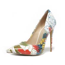 factory wholesale custom logo pu leather 8cm 10cm 12cm heel pointy toe women high heel pumps