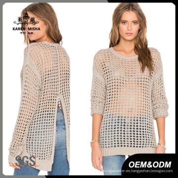 Suéter con abertura en la parte posterior y malla de moda para mujer