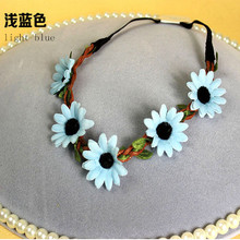 Sunflower Floral Elastic Forehead Garland (HEAD-357)