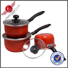 Juego de utensilios de cocina de esmalte 3 piezas Sauce Pan Kitchenware