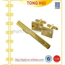 Oro contratado Metal Cufflinks & Tie bares regalo conjunto de accesorios de Tie