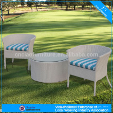 Outdoor rattan coffee set with round table and armchair