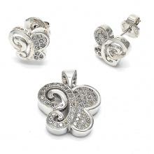 Conjunto de jóias brinco e pingente de borboleta 925 grosso
