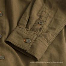 Camisa masculina de algodão com capuz e manga comprida para não passar roupa