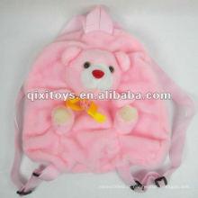 linda mochila de pelúcia urso animal rosa mochila para crianças