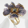new Arrival Gold Plated Rhinestone Ring Vintage purple crystal flower Finger Ring wholesale Women Jewelry