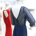 Темно-синее бальное платье с машинным бисером