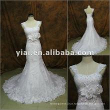 JJ2846 Mais novo vestido de noiva com pérolas com renda