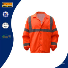 Hi Vis 100%Polyester Reflective Safety Waterproof Jacket with Breathable Lining