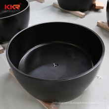Black round wholesale freestanding stone resin bath tub