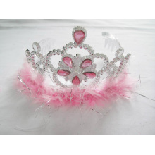 Pink Feather Flower PP Crown Tiara