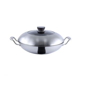Wok grande antiadherente de inducción de utensilios de cocina de acero inoxidable de tres capas
