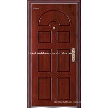 Высокое качество стали деревянные бронированную дверь (JKD-215) стальная дверь рама двери системы безопасности